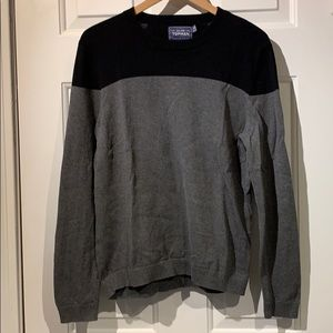 Topman Gray and Black Panel Sweater